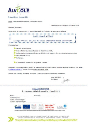 Formulaire invitation AG
